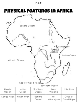 Map: Africa's Physical Features and Countries by Read and Be Awesome