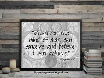 Motivational Poster Inspirational Quote Believe Achieve Napoleon Hill