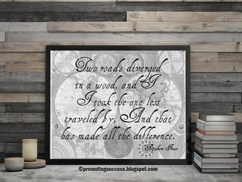 Robert Frost Poetry Poster, Library Decor, Reading Quote Poster, Literacy Center