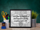 Growth Mindset Poster with Inspirational Quote about Not Wasting Time