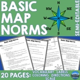 Map Basics - Scale, Directions, Labeling, & Coloring