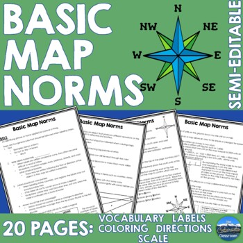 Map Basics - Scale, Directions, Labeling, and Coloring