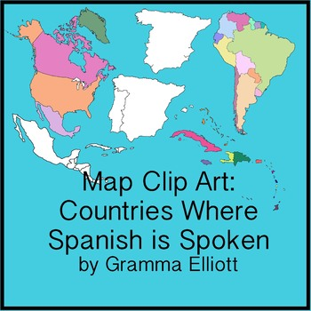 Map Clip Art for Countries Where Spanish is Spoken Black Line and Color