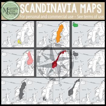 Map Clip Art: The Scandinavia Map Set {Messare Clips and Design}