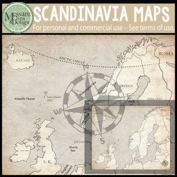 Map Clip Art: The Scandinavia Map Set {Messare Clips and Design}