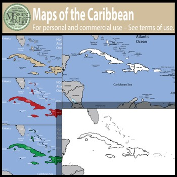 Map Clip Art: The Caribbean Map Set {Messare Clips and Design}