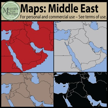 Map Clip Art: The Middle East Set {Messare Clips and Design}
