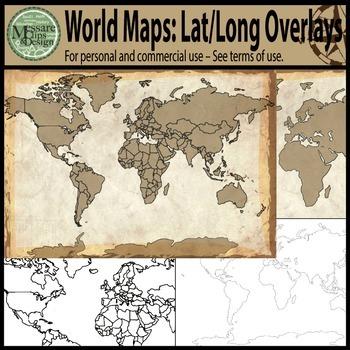 Maps: The World w/ Longitude & Latitude Overlays {Messare Clips & Design}