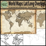 Maps: The World w/ Longitude & Latitude Overlays {Messare Clips & Design}