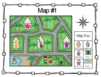 Map Direction Tropical Task Cards