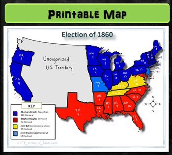 Map: Election of 1860 on map of america in 1860, united states flag in 1860, blank united states in 1860, number of american states in 1860, south america map in 1860, union states in 1860, united states postal service in 1860, map of usa in 1860, northern states in the us in 1860, united states of america in 1860, us map in 1860, india map in 1860, map of europe in 1860, texas map in 1860, map of western states in 1860, states and capitals in 1860,
