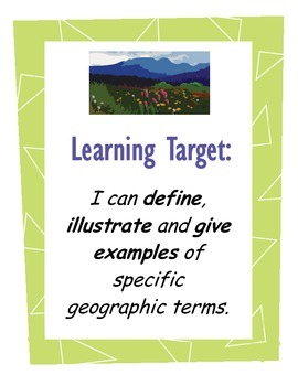 Map Features Bulletin Board Bundle - landforms & water features
