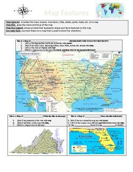 Map Features USA Virginia Florida by Teachers Resource Menu