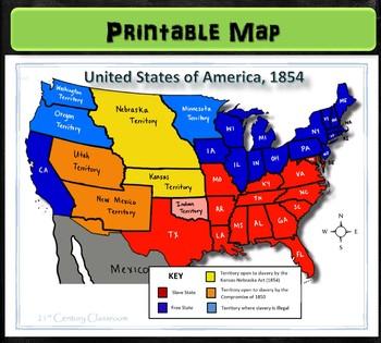 Map: Kansas Nebraska Act, 1854 by 21st Century Classroom | TpT