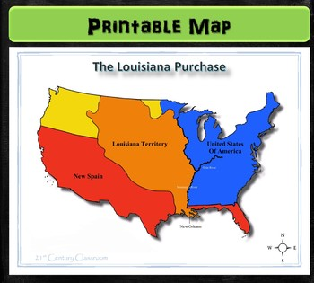 Map Of Louisiana Territory.Map Louisiana Purchase By 21st Century Classroom Tpt