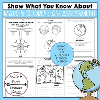 Map Map Features Continents And Major Oceans Assessment TpT - Major continents