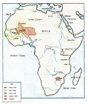 Map Of Africa Bodies Of Water.Map Medieval Kingdoms Of Africa