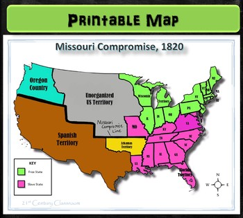 Map Of America 1820.Map Missouri Compromise 1820 By 21st Century Classroom Tpt