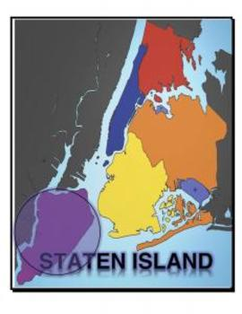 Map, New York, 5 Boroughs