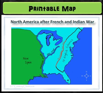 Map: North America after French and Indian War