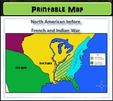 Map: North America before French and Indian War