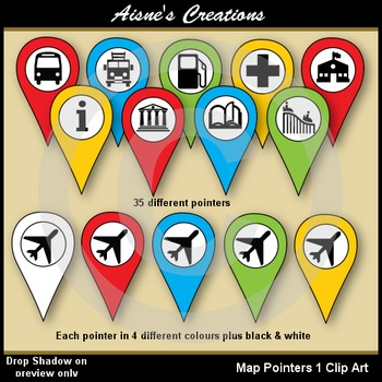 Map Pointers - Town & Travel Clip Art