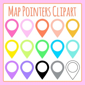 Map Pointers Multi Colored Clip Art for Commercial Use