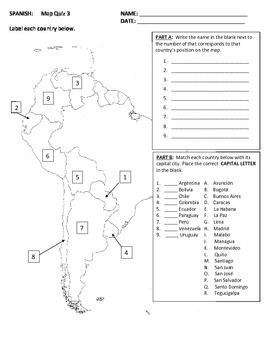 Map Quiz of Spanish Speaking Countries--South America by Coultas Corner