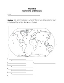 Map Quiz on Continents and Oceans