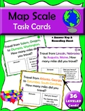 Map Scale Task Cards, leveled cards in 4 difficulty levels