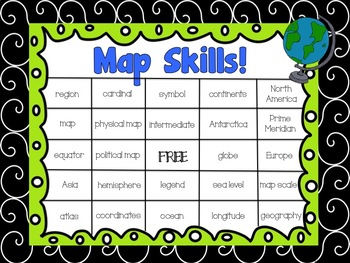 Map Skill & Vocabulary Bingo Game for Intermediate Grades