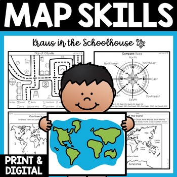 Map Skills - Maps, Globes, Continents, Oceans, Directions, Map Keys, and More!