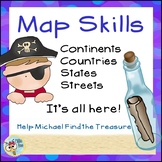 Map Skills Pirate Themed: Includes Continents, Countries, States, Street Maps