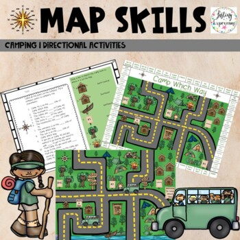map skills worksheets and activities with a camping theme