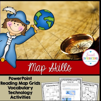MAP SKILLS - Slideshow and Hands-On Map Grid Activities