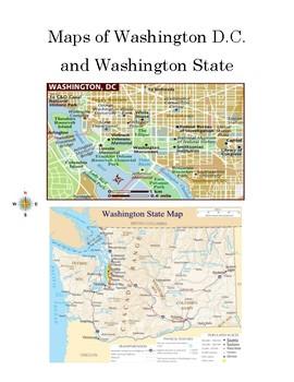 Map Skills: Washington D.C. and Washington State Worksheet with ...