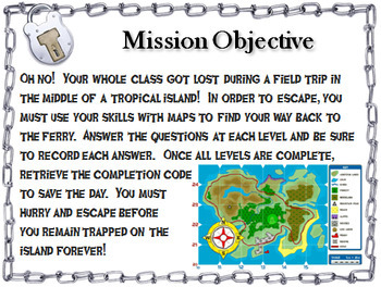 Map Skills Activity: Geography Escape Room Social Studies
