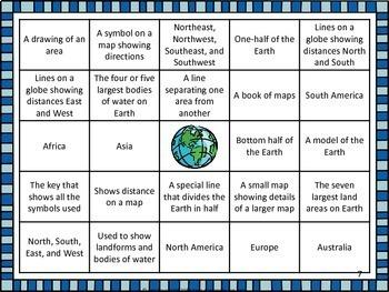Map Skills Bingo