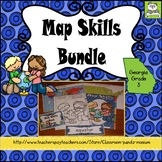 Map Skills Bundle Georgia Grade 3 (Task Cards Included) Meets New GSE's