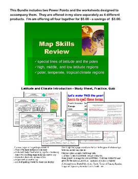 Map Skills Bundle Includes 2 PowerPoints and Their Accompanying WS's