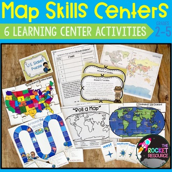 Map Skills Centers: Continents, Oceans, States, World Map locations