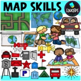 Map Skills Clip Art Bundle {Educlips Clipart}