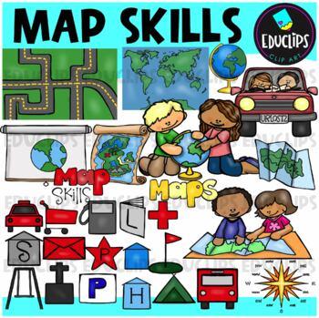 Map Skills Clip Art Bundle {Educlips Clipart}