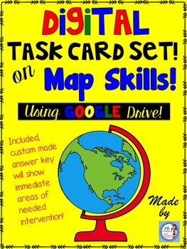 Map Skills DIGITAL Task Card Set  (intermediate grades)