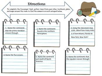 Map Skills Detective Scavenger Hunt