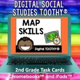 Map Skills Digital Social Studies Toothy® Task Cards | Dig