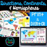 Map Skills - Directions, Continents, Oceans Hemispheres DI