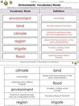 Map Skills: Environments Vocabulary Words Cut and Paste Activity