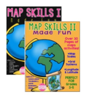 Map Skills I & II Units 1-7! No Prep! Scales, Grids, Longitude & Latitude!