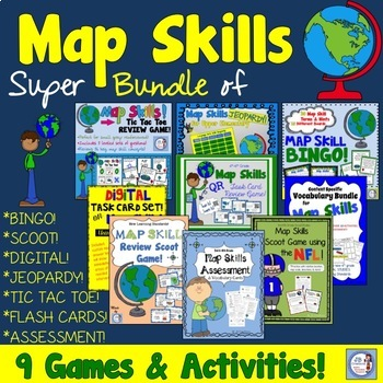 Map Skills Interactive Activity Bundle!  (intermediate grades)